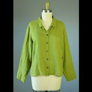 Flax Green Linen Button Down Top M